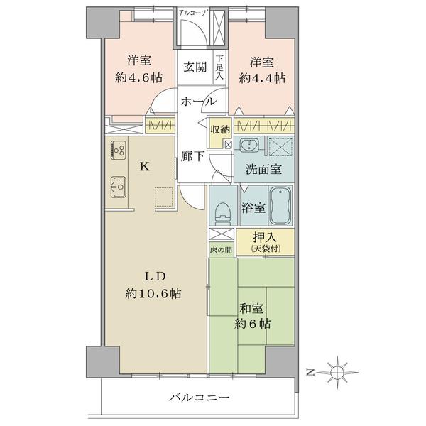 東建ニューハイツ元加賀の間取図/11F/3,720万円/3LDK/66.48 m²