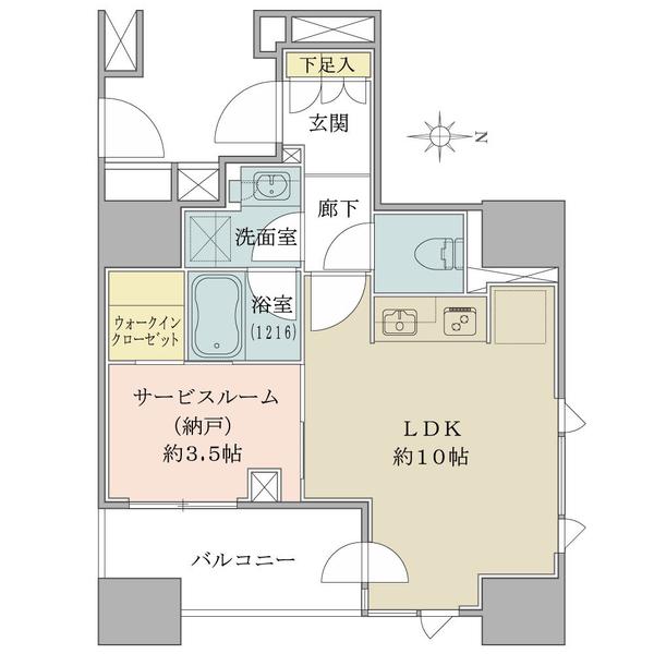 ブリリア秋葉原の間取図/9F/4,980万円/1LDK/37.81 m²