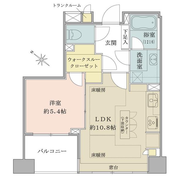 ブリリア日本橋浜町公園idの間取図/4F/4,480万円/1LDK+w/40.54 m²