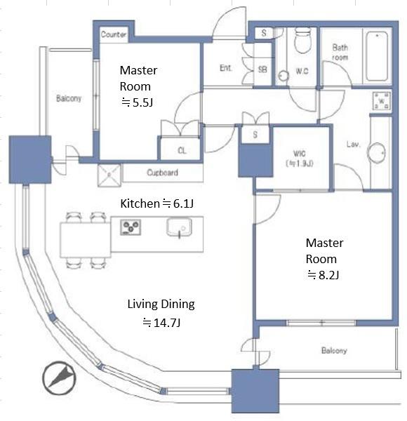 東京ツインパークスライトウイングの間取図/30F/15,500万円/2LDK+WIC/77.06 m²