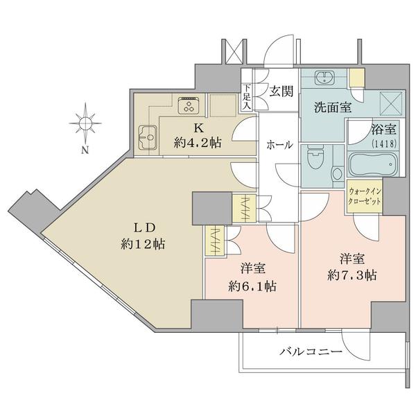 ルネッサンスタワー上野池之端の間取図/31F/9,280万円/2LDK/68.61 m²