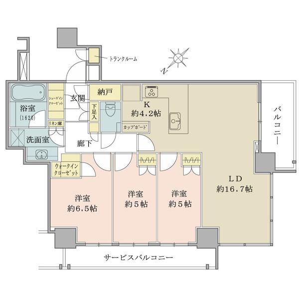 ブリリアザタワー東京八重洲アベニューの間取図/27F/16,500万円/3LDK+WIC+SIC+N/83.33 m²