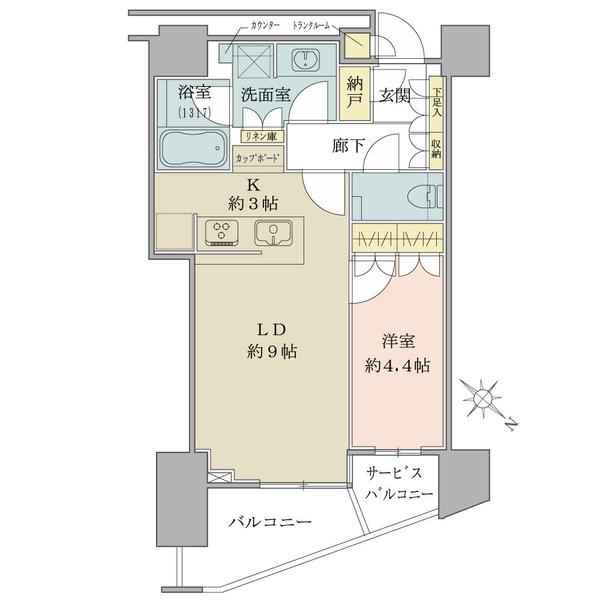ブリリアザタワー東京八重洲アベニューの間取図/5F/5,980万円/1LDK+N+TR/43.61 m²