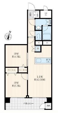 東建金町マンションの間取図/13F/1,799万円/2LDK/46.44 m²