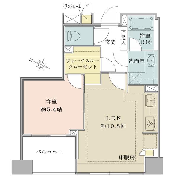 ブリリア日本橋浜町公園idの間取図/6F/4,850万円/1LDK+WIC/40.54 m²
