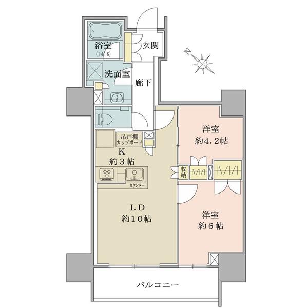 54.24平米・2LDK・各居室収納有(大型収納もございます)