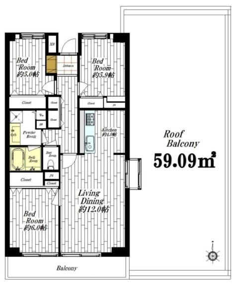 東建ニューハイツ元加賀の間取図/13F/5,780万円/3LDK/77.52 m²