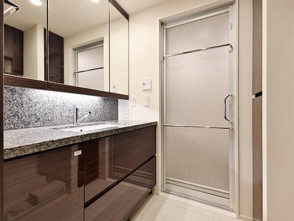 天然石御影石カウンター採用・三面鏡裏収納や洗面下収納など抜群の収納力