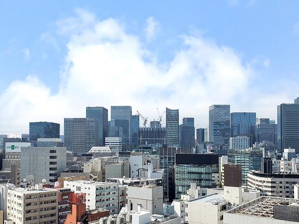 バルコニーからの眺望・15階部分につきオフィス街が望めます(天候による)