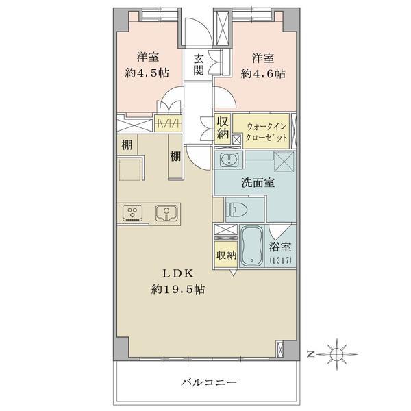 東建ニューハイツ元加賀の間取図/5F/5,490万円/2LDK/66.48 m²