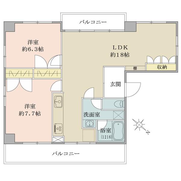 内装リノベーション工事済・6階部分・65.48平米・2LDK・各居室に収納もございます(完成予定間取り図)