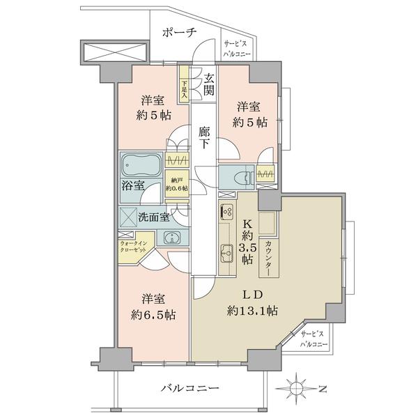 ブリリア葛西の間取図/6F/3,450万円/3LDK/75.09 m²