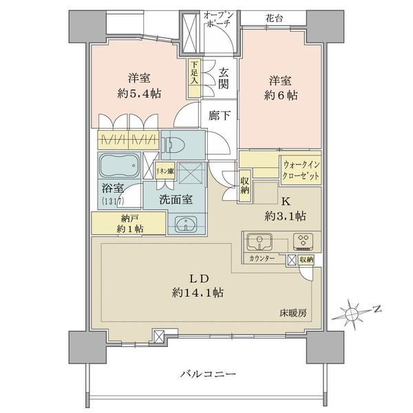 ブリリア上野松が谷の間取図/6F/6,380万円/2LDK/65.79 m²