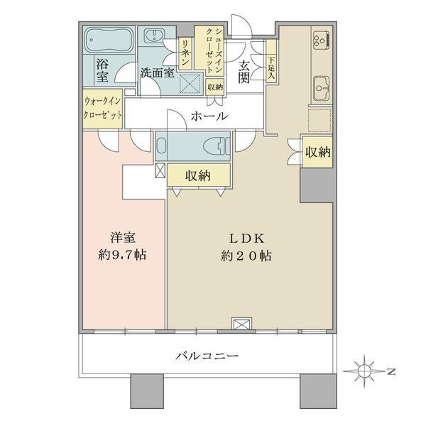 ブリリアタワー東京の間取図/34F/9,280万円/1LDK/72.59 m²