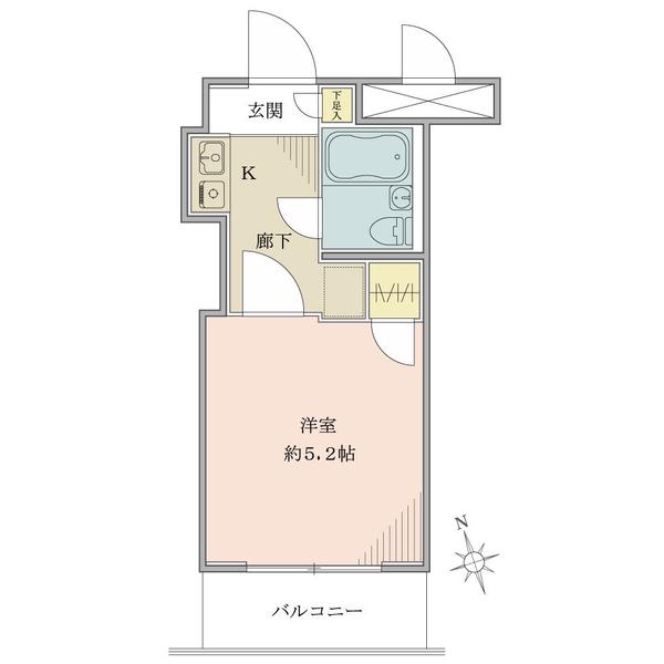 2階部分・16.47平米・1K・バルコニー南西向き住戸