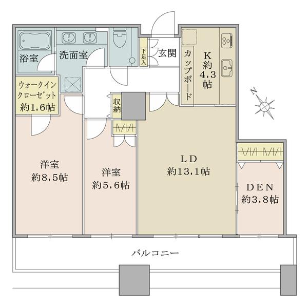 東京ツインパークスレフトウイングの間取図/26F/14,800万円/2LDK+DEN+WIC/79.95 m²