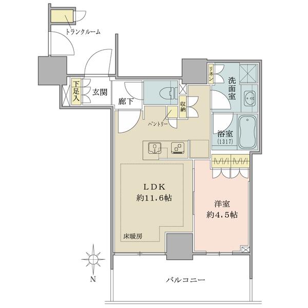 ブリリアタワー上野池之端の間取図/34F/6,200万円/1LDK/4121 m²