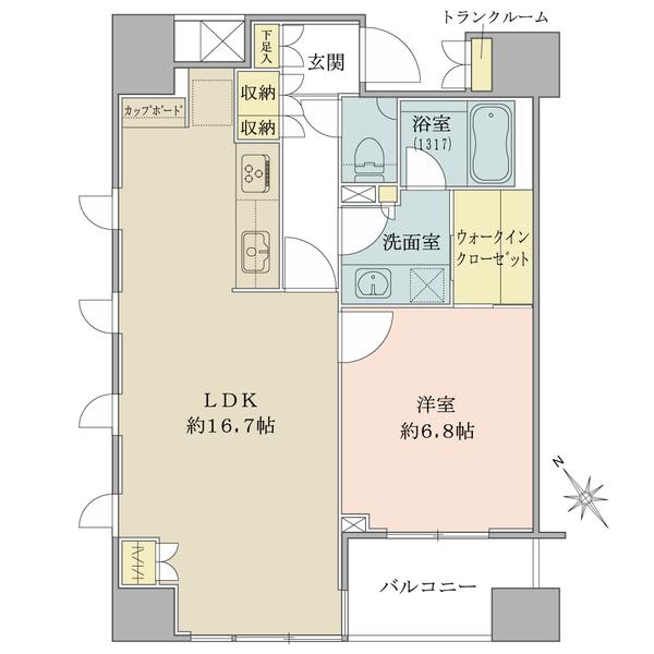 ブリリア銀座idの間取図/9F/8,250万円/1LDK/56.33 m²