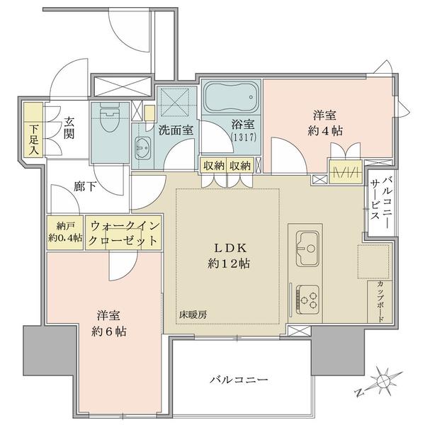 ブリリア上野ザ・レジデンスの間取図/9F/6,150万円/2LDK/52.08 m²