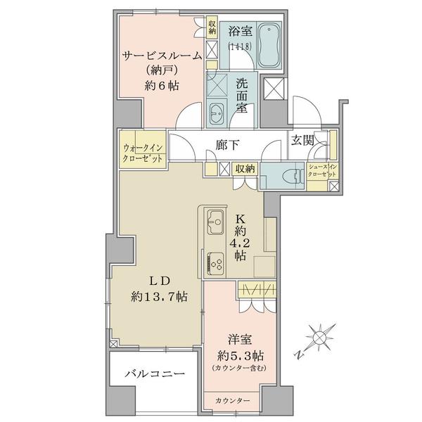9階部分・59.81平米・1SLDK+WIC・SIC 角部屋につき通風良好です