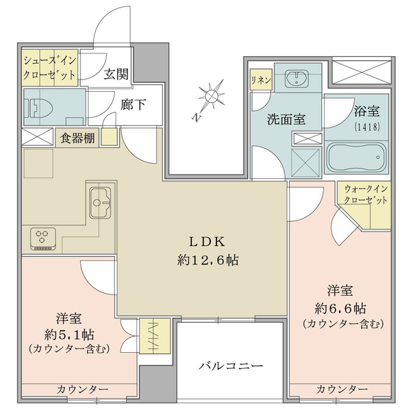 10階部分・57.87平米・2LDK+WIC・SIC