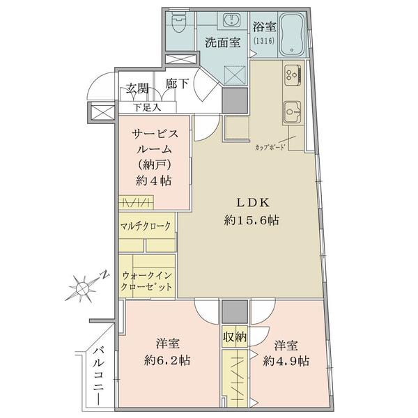 5階部分・72.50平米・2SLDK+W+M・3方向角部屋につき通風良好
