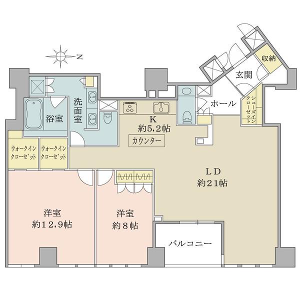 ブリリア一番町の間取図/15F/38,000万円/2LDK+2WIC/117.79 m²