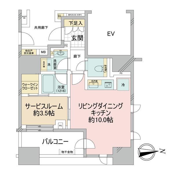 ブリリア秋葉原の間取図/4F/5,390万円/1LDK/37.81 m²