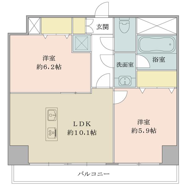 「間取図」/北西向き13階部分/51.94平米の2LDK