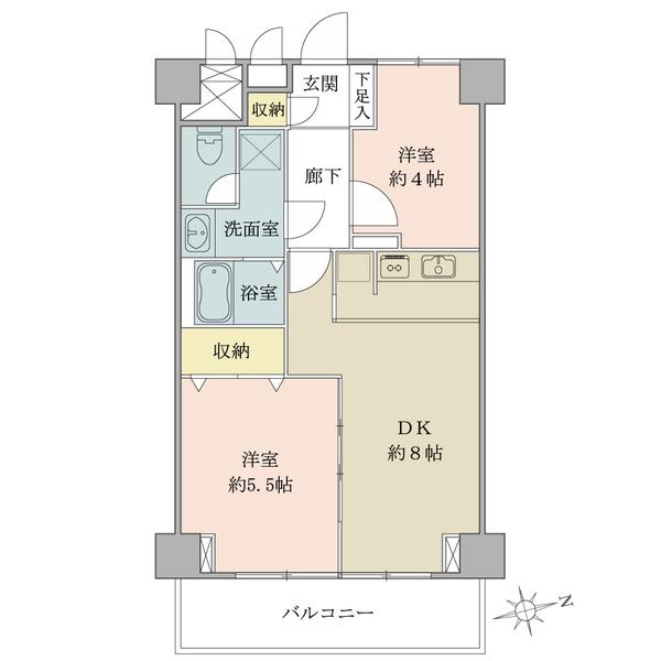 2LDK/51.15㎡/東向きのお部屋です。