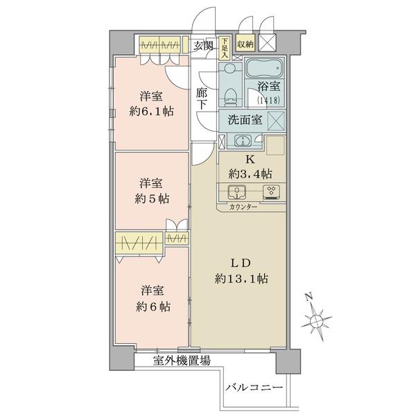 「間取図」/4階・南向き/73.60平米/3LDK