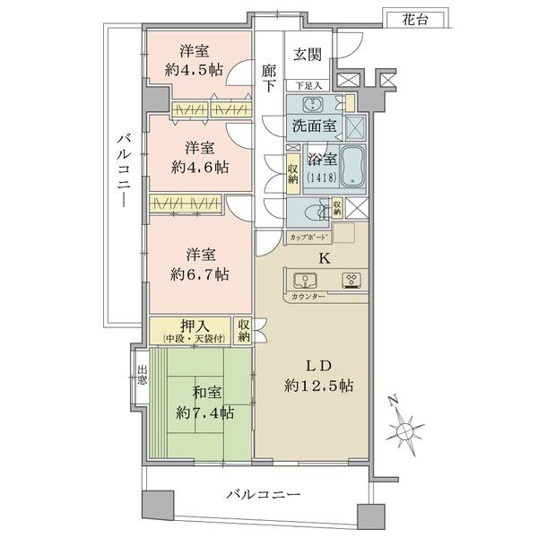 「間取図」/5階・南向き角住戸/88.99平米/4LDK