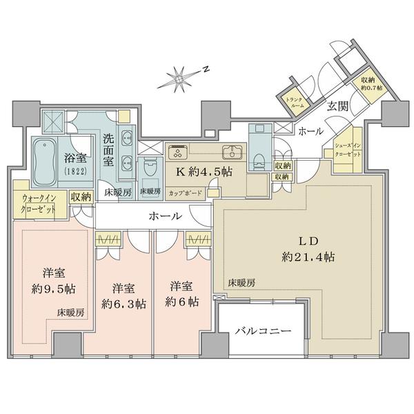 ブリリア一番町の間取図/17F/53,000万円/3LDK+WIC+SIC/117.79 m²