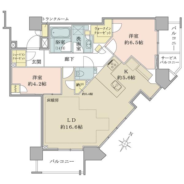 ブリリアザタワー東京八重洲アベニューの間取図/12F/12,500万円/2LDK+WIC+SIC+N/73.3 m²