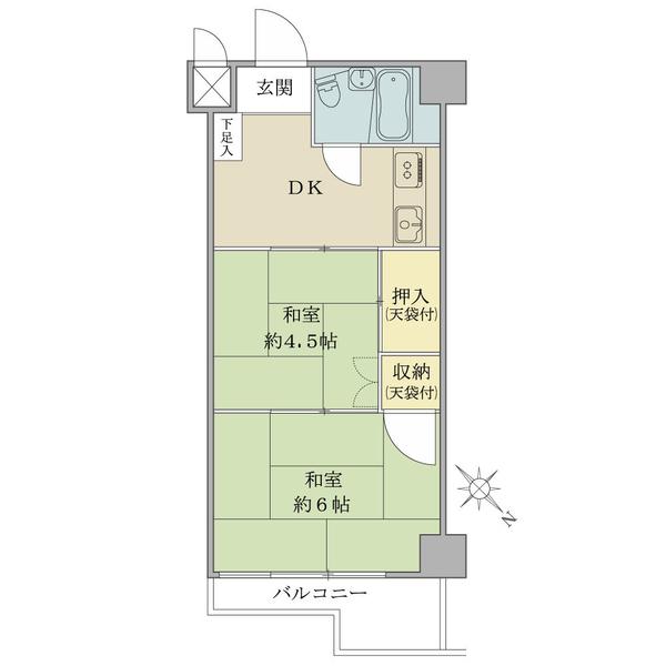 【間取図】/2DK・28.44平米。廊下がなく、3点ユニットバス採用の為、お部屋は広く感じられます。