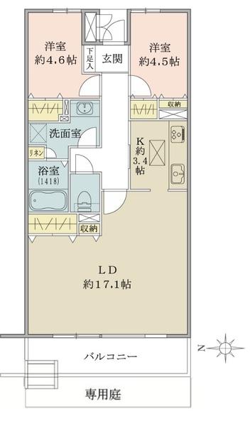 東建ニューハイツ元加賀の間取図/1F/4,580万円/2LDK/71.28 m²