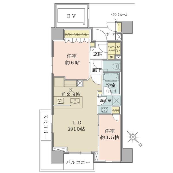 【間取図】/11階建ての4階部分、54.59平米の2LDK。北東向きの角住戸