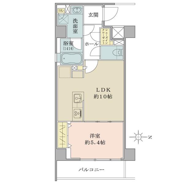 【間取図】3階部分/東向き/1LDK/41.18平米。現行賃料154 000円/表面利回り4.26%