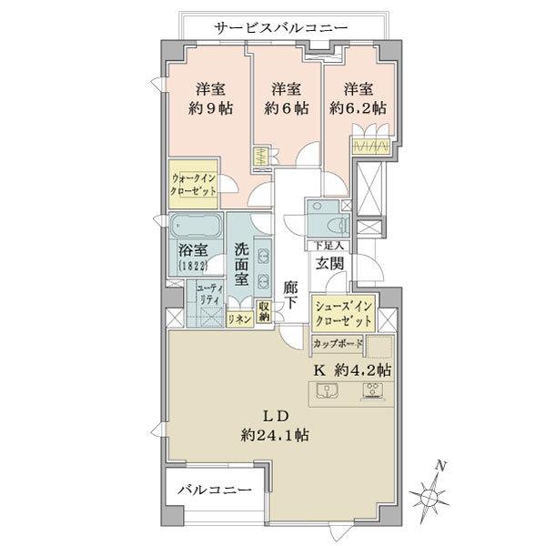 Brillia 高輪The Courtの間取図/3F/24,000万円/3LDK+WIC+SIC/118.02 m²