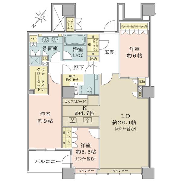 ブリリア有明スカイタワーの間取図/33F/12,800万円/3LDK+WIC/115.51 m²