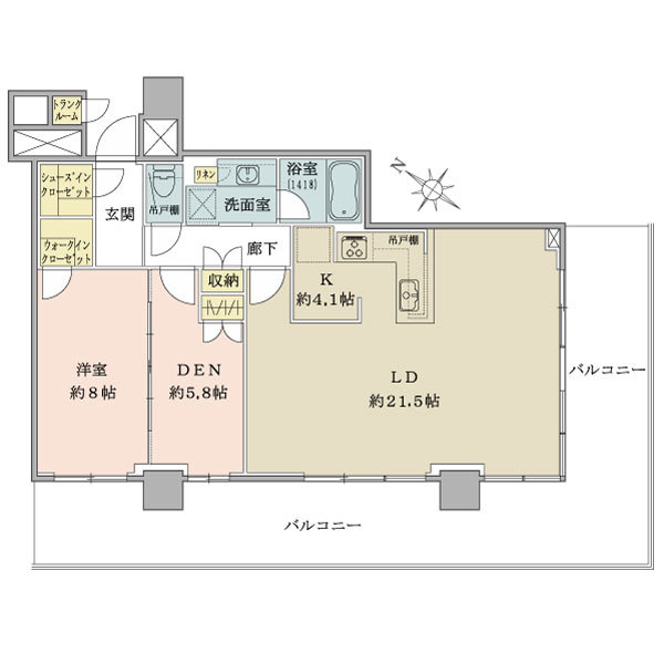 ブリリア有明シティタワーの間取図/32F/12,500万円/1LDK/84.27 m²