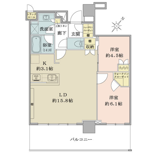 ブリリア有明シティタワー の間取図/31F/5,750万円/2LDK/65.88 m²