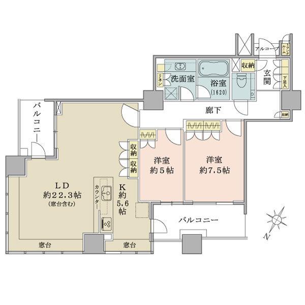 ブリリアマーレ有明タワー&ガーデンの間取図/14F/7,580万円/2LDK/93.1 m²