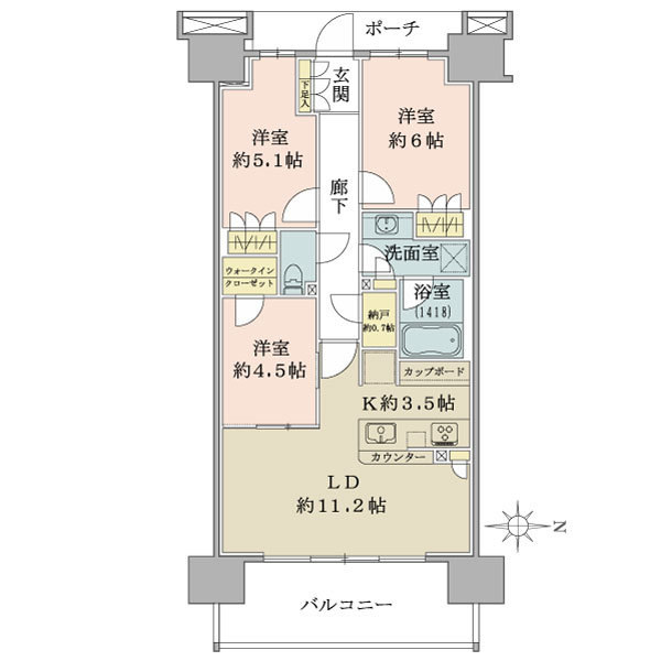 ブリリア辰巳キャナルテラスの間取図/10F/4,490万円/3LDK/70.2 m²