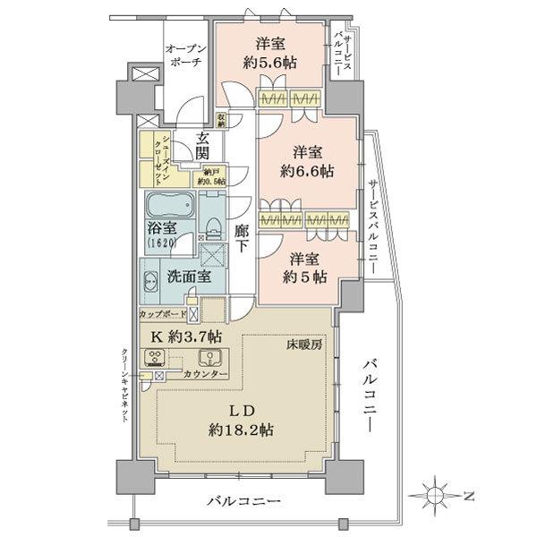 ブリリア辰巳キャナルテラスの間取図/9F/5,680万円/3LDK/91.33 m²