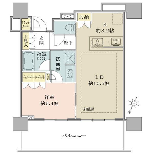 ブリリア有明シティタワーの間取図/24F/4,190万円/1LDK/45.94 m²
