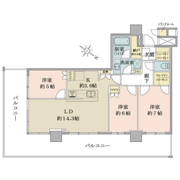 ブリリア有明シティタワーの間取図/11F/6,490万円/3LDK+SIC+WIC/78.91 m²