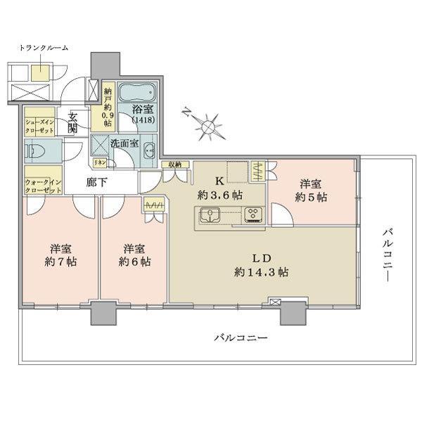 ブリリア有明シティタワーの間取図/10F/7,350万円/3LDK/78.91 m²