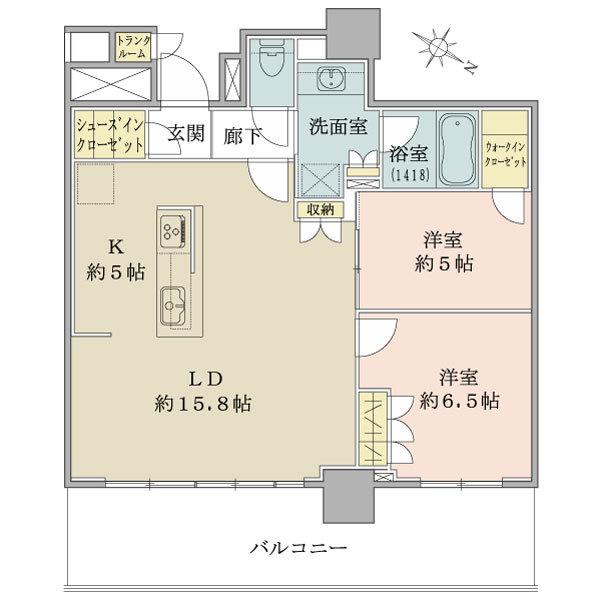 ブリリア有明シティタワーの間取図/28F/5,990万円/2LDK+WIC+SIC/70.89 m²