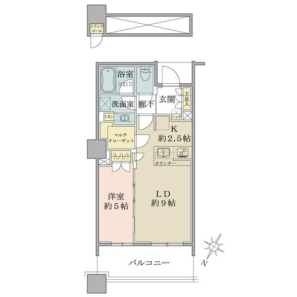ブリリア有明スカイタワーの間取図/32F/4,480万円/1LDK/43.76 m²
